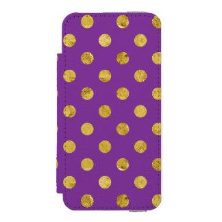エレガントな金ゴールドホイルの水玉模様パターン-紫色 INCIPIO WATSON™ iPhone 5 財布 ケース
