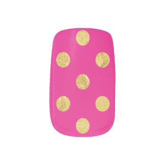 エレガントな金ゴールドホイルの水玉模様パターン-金ゴールド及びピンク ネイルシール