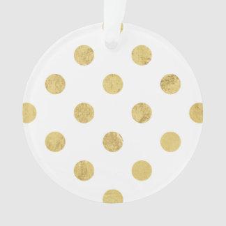 エレガントな金ゴールドホイルの水玉模様パターン-金ゴールド及び白 オーナメント