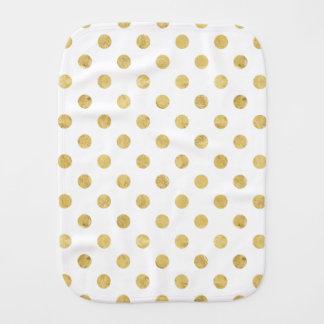 エレガントな金ゴールドホイルの水玉模様パターン-金ゴールド及び白 バープクロス