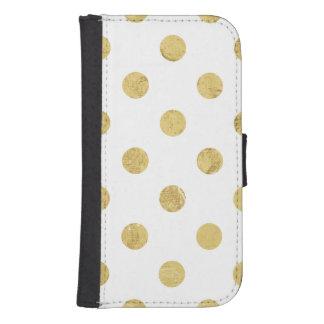 エレガントな金ゴールドホイルの水玉模様パターン-金ゴールド及び白 手帳 GALAXY S4ケース