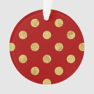 エレガントな金ゴールドホイルの水玉模様パターン-金ゴールド及び赤 オーナメント