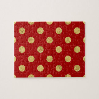 エレガントな金ゴールドホイルの水玉模様パターン-金ゴールド及び赤 ジグソーパズル