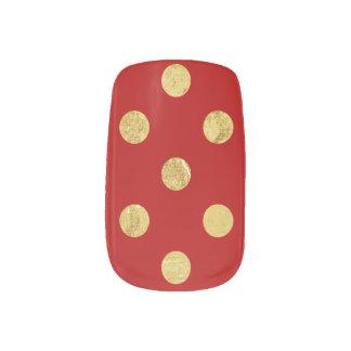 エレガントな金ゴールドホイルの水玉模様パターン-金ゴールド及び赤 ネイルステッカー