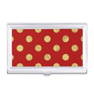 エレガントな金ゴールドホイルの水玉模様パターン-金ゴールド及び赤 名刺入れ