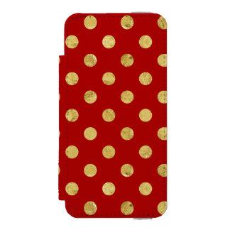 エレガントな金ゴールドホイルの水玉模様パターン-金ゴールド及び赤 INCIPIO WATSON™ iPhone 5 ウォレット ケース