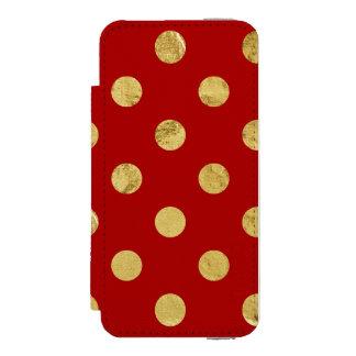 エレガントな金ゴールドホイルの水玉模様パターン-金ゴールド及び赤 INCIPIO WATSON™ iPhone 5 財布 ケース