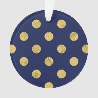 エレガントな金ゴールドホイルの水玉模様パターン-金ゴールド及び青 オーナメント