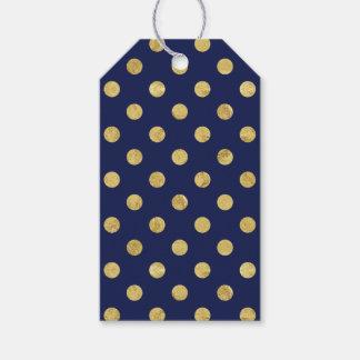 エレガントな金ゴールドホイルの水玉模様パターン-金ゴールド及び青 ギフトタグ