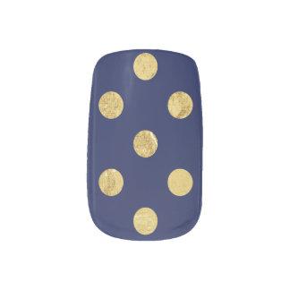 エレガントな金ゴールドホイルの水玉模様パターン-金ゴールド及び青 ネイルアート