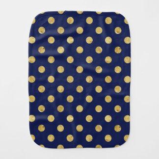 エレガントな金ゴールドホイルの水玉模様パターン-金ゴールド及び青 バープクロス