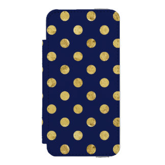 エレガントな金ゴールドホイルの水玉模様パターン-金ゴールド及び青 INCIPIO WATSON™ iPhone 5 ウォレット ケース