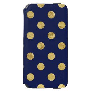 エレガントな金ゴールドホイルの水玉模様パターン-金ゴールド及び青 INCIPIO WATSON™ iPhone 6 財布ケース