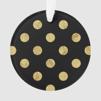 エレガントな金ゴールドホイルの水玉模様パターン-金ゴールド及び黒 オーナメント