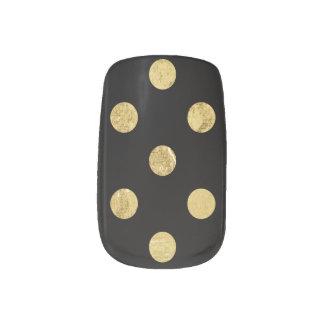 エレガントな金ゴールドホイルの水玉模様パターン-金ゴールド及び黒 ネイルシール