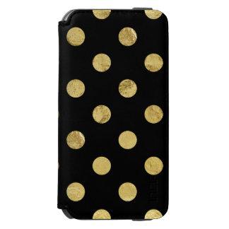 エレガントな金ゴールドホイルの水玉模様パターン-金ゴールド及び黒 INCIPIO WATSON™ iPhone 5 財布型ケース