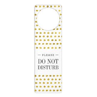 エレガントな金ゴールドホイルの白く小さい水玉模様パターン ドアノブプレート