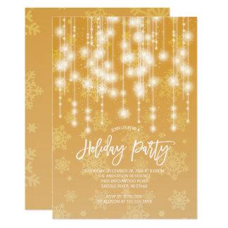 エレガントな金ゴールドライト休日のパーティの招待状 カード