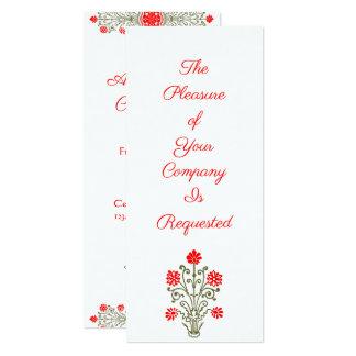 エレガントな金ゴールド及び赤い花の芸術のカスタムの招待状 カード