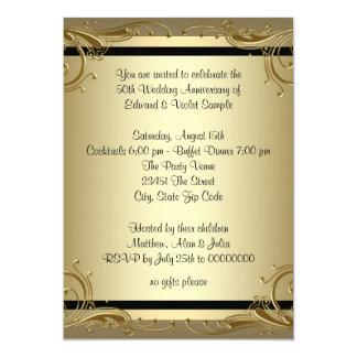 エレガントな金ゴールド第50の結婚記念日のパーティー カード