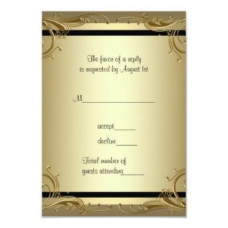 エレガントな金ゴールド第50の結婚記念日のパーティーRSVP カード