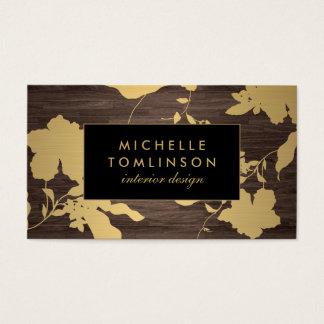 エレガントな金ゴールド花パターン暗い木製デザイナー 名刺