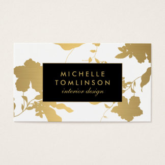 エレガントな金ゴールド花パターン白デザイナー 名刺