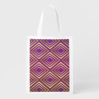 エレガントな金紫色のすみれ色のダイヤモンドパターン エコバッグ
