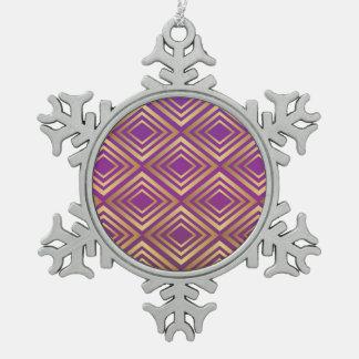エレガントな金紫色のすみれ色のダイヤモンドパターン スノーフレークピューターオーナメント