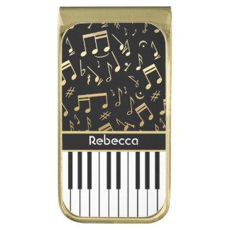 エレガントな金音楽はピアノ鍵に注意します ゴールド マネークリップ
