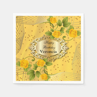 エレガントな金黄色い開花したテンプレート スタンダードカクテルナプキン