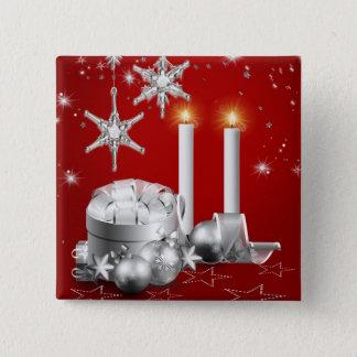エレガントな銀および赤いクリスマスボタン 5.1CM 正方形バッジ