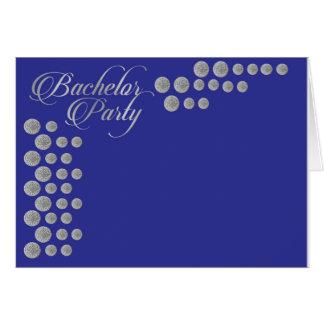 エレガントな銀および青いバチュラーパーティの招待 カード