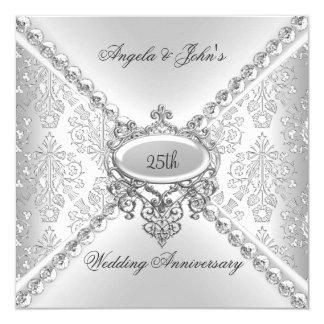 エレガントな銀の第25結婚記念日のダマスク織 カード