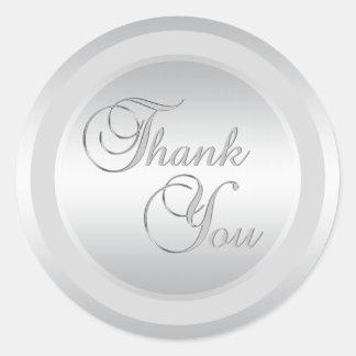 エレガントな銀は封筒用シール感謝していしています ラウンドシール