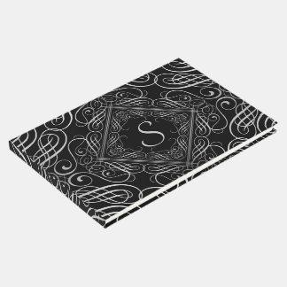 エレガントな銀ぱくの一見の線条細工のScrollworkの黒 ゲストブック