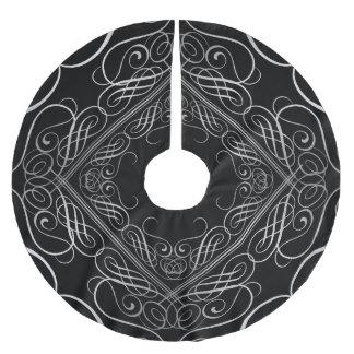 エレガントな銀ぱくの一見の線条細工のScrollworkの黒 ブラッシュドポリエステルツリースカート