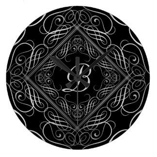 エレガントな銀ぱくの一見の線条細工のScrollworkの黒 ラージ壁時計