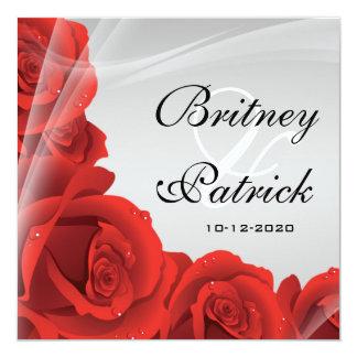 エレガントな銀及び赤いバラの結婚式招待状 カード