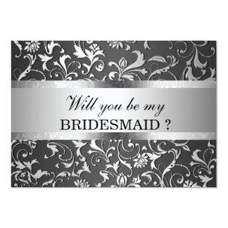 エレガントな銀製の花柄の渦巻の黒い新婦付添人 カード