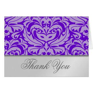 エレガントな銀製スクロール紫色のダマスク織のサンキューカード カード