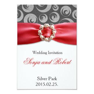エレガントな銀製灰色の赤いリボンの結婚式招待状 カード