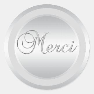 エレガントな銀MERCIはステッカーを分類します ラウンドシール
