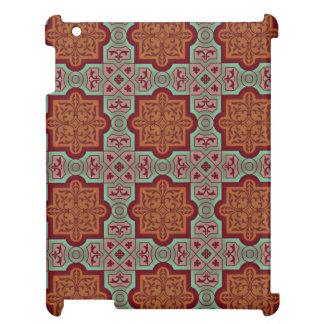 エレガントな錆のティール(緑がかった色)のヴィンテージのクラシカルなタイルパターン iPad カバー