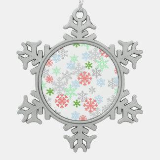 エレガントな雪片 スノーフレークピューターオーナメント