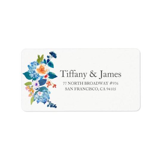 エレガントな青及びモモの花の結婚式の宛名ラベル ラベル