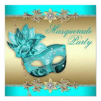 エレガントな青緑の仮面舞踏会のパーティの招待状 カード