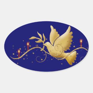 エレガントな鳩の平和蝋燭 卵形シール・ステッカー