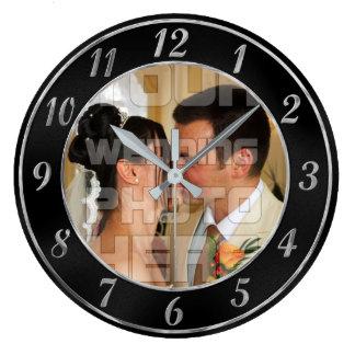 エレガントな黒いおよび銀製結婚式の写真の時計 ラージ壁時計