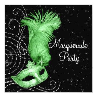 エレガントな黒およびライムグリーンの仮面舞踏会のパーティー カード